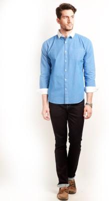 Change 360 Men's Checkered Formal Blue Shirt