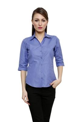 Fellows International Women's Solid Formal Blue Shirt