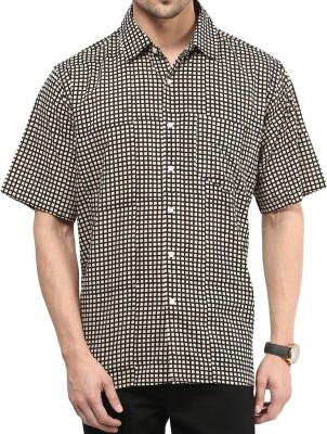 Vivid India Men's Checkered Casual White Shirt
