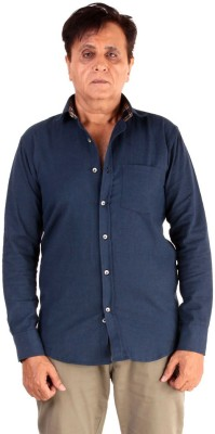 The G Street Men's Solid Casual Dark Blue Shirt