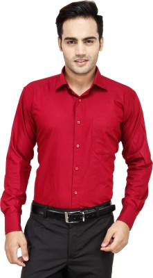Frankline Men's Solid Formal Maroon Shirt