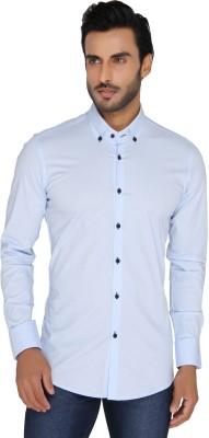 Mode De Base Italie Men's Solid Casual Light Blue Shirt