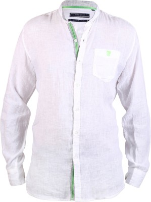 Hash Luxury Men,s Solid Casual Linen White Shirt