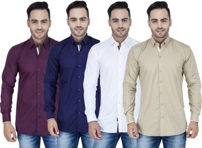 Stylox Men's Solid Casual Purple, Blue, White, Beige Shirt