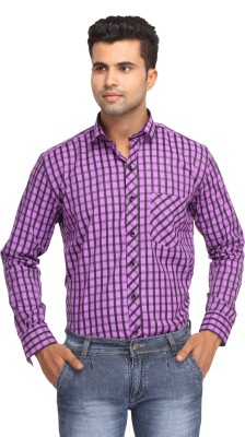 Orizzonti Men's Checkered Formal Purple Shirt