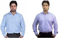 Kvm Formal Shirts (Men's) - KVM Men's Checkered Formal Light Blue, White Shirt(Pack of 2)