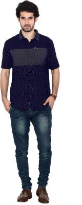 FRD13 Men's Printed Casual Blue Shirt