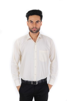 Spaky Men's Solid Formal Beige Shirt
