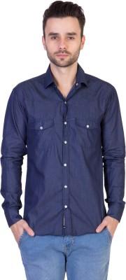 Threadikshion Men's Solid Casual Dark Blue Shirt