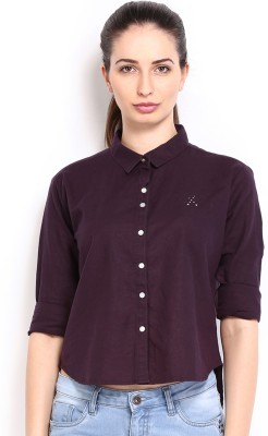 HRX by Hrithik Roshan Women,s Solid Casual Purple Shirt