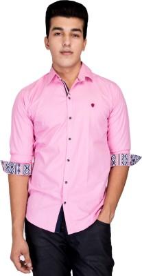 Jhon Poul Men's Solid Casual Pink Shirt