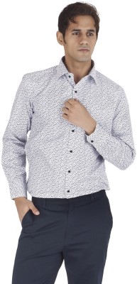 Silkina Men's Floral Print Casual, Formal White Shirt
