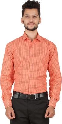 Stylo Shirt Men's Checkered Casual Orange Shirt