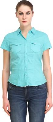 Amirich Women's Self Design Casual Light Blue Shirt