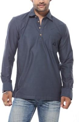 Roger Clothier Men's Solid Casual Grey Shirt