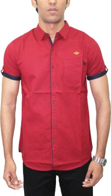 Kuons Avenue Men's Solid Casual Linen Maroon, Red Shirt