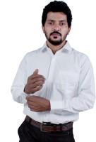 White Crystal Formal Shirts (Men's) - White Crystal Men's Solid Formal White Shirt