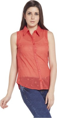 Globus Women's Embroidered Casual Pink Shirt