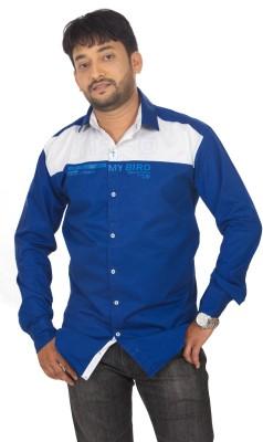 Modo Vivendi Men's Self Design Casual Blue, White Shirt