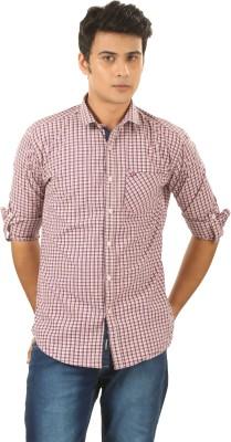PraadoFashion Men's Checkered Casual Maroon, Pink Shirt