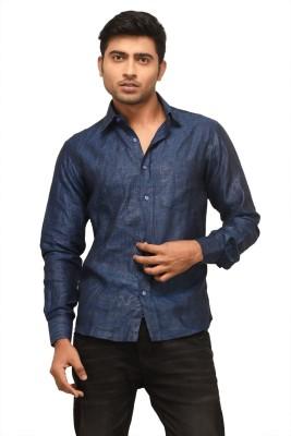 Alpha Centauri Men's Solid Casual Dark Blue Shirt