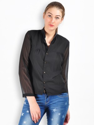 MySin Women's Solid Casual Black Shirt