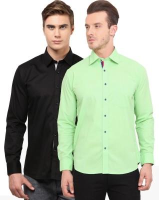 Zavlin Men,s Solid Casual Black, Light Green Shirt
