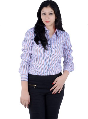 S9 Women's Checkered Casual Light Blue, Red, White, Black Shirt