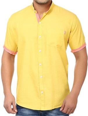 Golf Club Men's Solid Casual Yellow Shirt