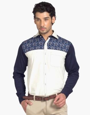 YOO Men's Paisley Casual Beige Shirt