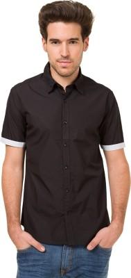 Mode Manor Men's Solid Casual Black Shirt