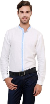 Azo Men's Solid Casual Linen White Shirt