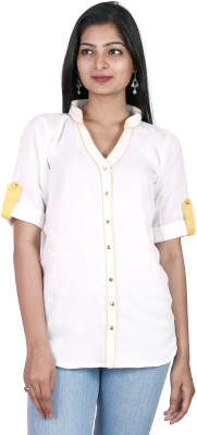 Pamposh Creations Women's Solid Casual White Shirt