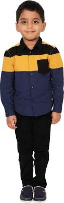 I-Voc Boy's Solid Casual Blue, Yellow, Black Shirt