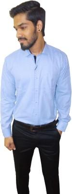 Metro Look Men's Graphic Print Formal Light Blue Shirt