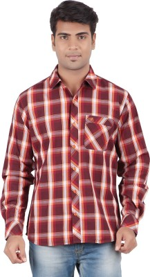 Anytime Men's Checkered Casual Brown, Maroon Shirt