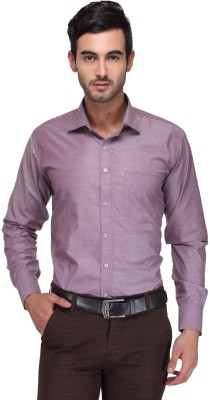 Ausy Men's Solid Casual Purple Shirt
