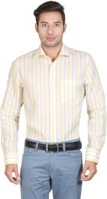 Don Vino Men's Striped Casual Yellow, Beige Shirt