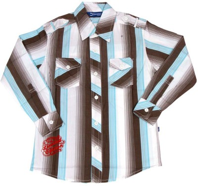 Dreamszone Boys Striped Casual Brown, Blue Shirt