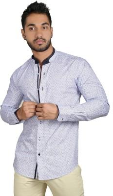 Just Differ Men's Self Design Casual Black, White, Purple Shirt