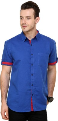 Greenfibre Men's Solid Casual Blue Shirt