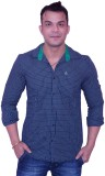 Trish Men's Checkered Casual Dark Blue S...