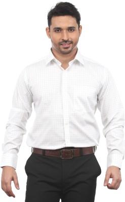 Chill Men's Checkered Formal White Shirt