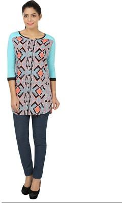 Kwardrobe Women's Chevron Casual Blue, Black, Orange, Grey Shirt