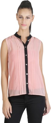 JAPPSHOP Women's Solid Casual Pink Shirt