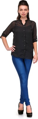Enchanted Drapes Women's Solid Casual Black Shirt