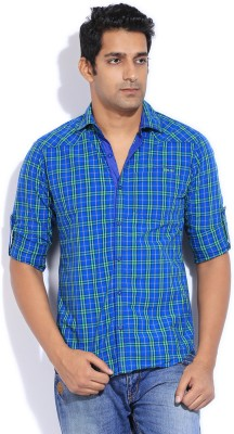 The Indian Garage Co. Men,s Checkered Casual Green, Blue Shirt