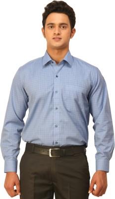 Seven Days Men's Checkered Formal Blue Shirt
