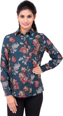 Zachi Women's Floral Print Casual Blue Shirt