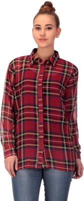 CHKOKKO Women's Checkered Casual Red Shirt